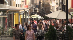Crowded Street, People Walking By, East Europe, Bucharest, Crowds, High Angle - stock footage