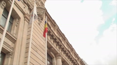 The National Museum Of Bucharest, Entrance Stairs, City Life, Busy, Pan, Tilt Stock Footage