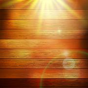 Stock Illustration of Wooden boards with sun light. plus EPS10