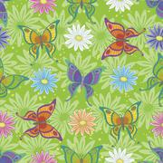 Seamless pattern, butterflies and flowers Stock Illustration