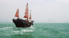 Sightseeing Aboard Traditional Chinese Junk - stock footage