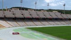Types of Barcelona. Lluís Companys Olympic Stadium. Stock Footage