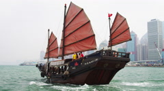 Downtown City Sightseeing Aboard Traditional Chinese Junk - stock footage