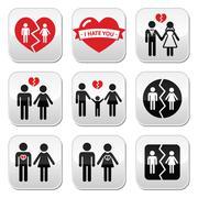 Couple breakup, divorce vector buttons set Piirros