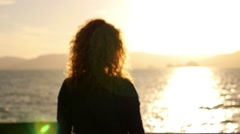 Young Woman Enjoying and Smiling to the Sun. Peace and Serene Atmosphere of Stock Footage