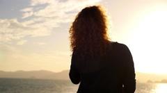Beautiful Woman Enjoying Romantic Seascape on Luxury Yacht. Slow Motion. Stock Footage