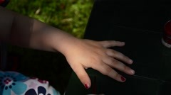 Little girl loves to be preatty, nail painted red Stock Footage