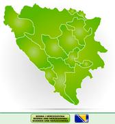 map of bosnia and herzegovina - stock illustration
