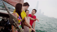 Multi Ethnic Tourists Sailing Chinese Junk Close Up Stock Footage