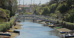 4K video of bridges over the Venice canals near Venice beach, Los Angeles Stock Footage