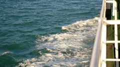 Wake Caused by Cruise Ship. Sea Foam Storming Overboard. Slow Motion. Stock Footage