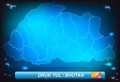map of bhutan - stock illustration