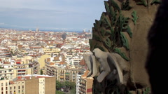 Barcelona aerial view from the tower of Sagrada Familia church Stock Footage