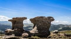 Babele (old women) rocks in bucegi mountains Stock Footage