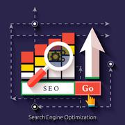 seo search engine optimization, programming process - stock illustration