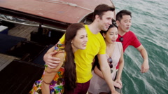 Vacation Excursion Chinese Junk Multi Ethnic Tourists - stock footage