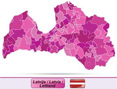map of latvia - stock illustration