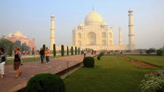 EDITORIAL : People visit Taj Mahal in agra, india Stock Footage