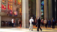 Tourists inside Sagrada Familia church. Barcelona, Spain. Stock Footage