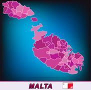 map of malta - stock illustration