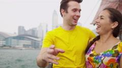 Caucasian Tourists Sailing Chinese Junk Close Up Stock Footage