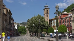Spain, Granada, square Plaza Nueva, view towards Albaisin and Alhabmra. Stock Footage