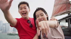 Asian Chinese Tourist Couple Photo Messaging Stock Footage