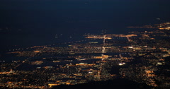 4K video of Palm Springs at night from Mount San Jacinto, California Stock Footage