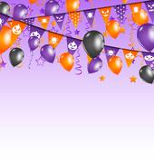 halloween background with hanging flags and balloons - stock illustration