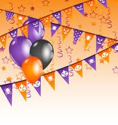 hanging flags and balloons for halloween party - stock illustration