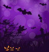 halloween ominous background with pumpkins, bats, ghost - stock illustration