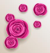 cutout flowers - beautiful roses, paper craft - stock illustration