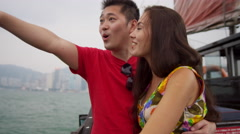 Commercial Sightseeing Chinese Junk Harbor Waters Stock Footage