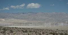 4K video of huge a wind turbine farm near Palm Springs, California Stock Footage