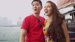 Asian Caucasian Multi Ethnic Couple Hong Kong Outdoors - stock footage