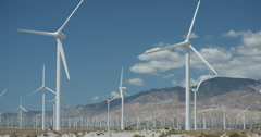 4K video of some huge wind turbines near Palm Springs, California Stock Footage