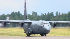 C-130 Hercules Aircraft Lands at Lielvarde Air Base, Latvia Stock Footage