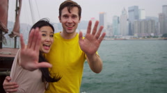 Young Multi Ethnic Couple Photo Messaging Outdoors Stock Footage