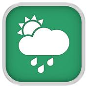 mainly cloudy with considerable amount of rain sign - stock photo