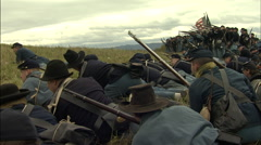 Civil War Soldiers preparing to fire - stock footage