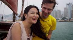 Young Multi Ethnic Couple  Enjoying Vacation Modern City Stock Footage