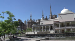 Fountain in front of the Paseo del buen pastor, Cordoba Argentina Stock Footage