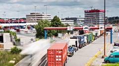 Lots Of Trucks At A Toll Station Stock Footage