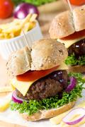 american cheeseburger - stock photo