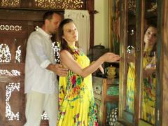 Young beautiful couple visiting colonial furniture shop NTSC Stock Footage