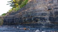 Coal Seam Exposed in cliff - Coal Measures Stock Footage