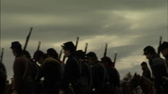 Civil War Soldiers marching with guns - stock footage