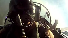 Cockpit footage of pilot in fighter jet Stock Footage