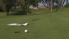 Golf, long shot on the green succeeds, bouncing. Stock Footage