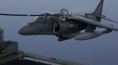Harrier and Osprey air to air refueling Stock Footage